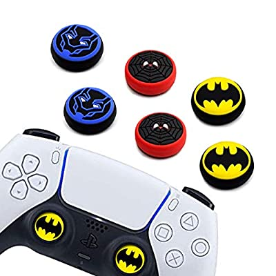 6Pcs Analog Thumb Grip Stick Cover, Dualsense Wireless Controllers Game Remote Joystick Cap, Fantastic Non-Slip Silicone Handle Protection Cover for PS5/PS4/Xbox one/360/Nintendo Switch PRO (A)