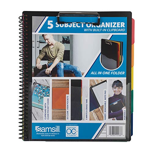 Samsill 5 Subject Spiral School Folder Organizer with Notepad and Clipboard, 5 Dividers with Pockets, Multi Pocket Folder and Document Holder