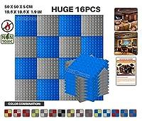 エースパンチ 新しい 16ピースセット青とグレー 500 x 500 x 50 mm ピラミッド 東京防音 ポリウレタン 吸音材 アコースティックフォーム AP1034