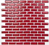 Tic Tac Tiles Peel contra salpicaduras de azulejos de moldes y enchufe de pared de ladrillo en Diseño 5 ladrillo rojo