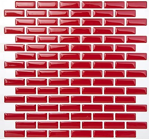 Tic Tac Tiles Peel contra salpicaduras de azulejos de moldes y enchufe de pared de ladrillo en Diseño 10 ladrillo rojo