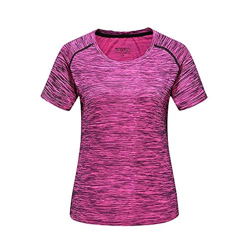 DamaiOpeningcs Camiseta de correr, de verano, para hombres y mujeres, de mesa, de manga corta, cuello redondo, media tubo, sección fina, color rosa, para mujer XXL