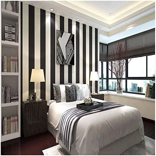 QIHANG Modern Minimalist Vertical Striped Pvc Wallpaper Black&white Color 0.53m10m=5.3m2