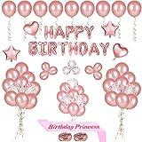 PHOGARY Fiesta de cumpleaños de 68 Piezas con Globos, decoración, Pancarta de Globos de Oro Rosa, Globos de látex de Confeti, Princesa de cumpleaños Sash para niñas
