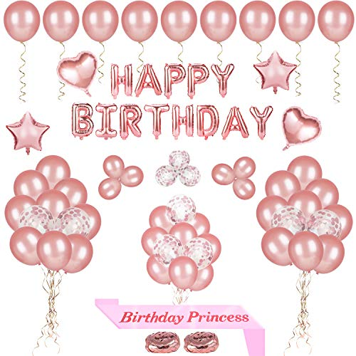 68 Pcs Happy Birthday Party Luftballons Dekoration,Rose Gold Geburtstag Banner,Konfetti Latex Ballon für Frauen Mädchen