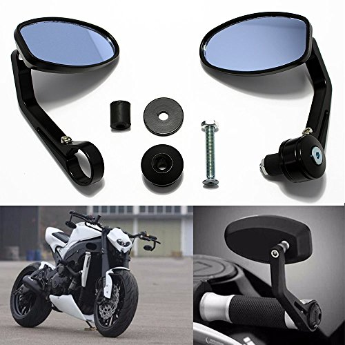 "Motorcycle 7/8"" Handle Bar End Oval Rearview Mirrors For Honda Sports Bike Street Fighter"
