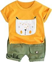 Subfamily Conjuntos Bebé Niño Camiseta de Manga Corta con Estampado de Cachorros de Dibujos Animados para niños + Pantalones Cortos de Dos Piezas