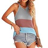 DISSA Blusa de punto para mujer con diseño de espaguetis, color de contraste, S3359-1 Multicolor(253477) S