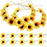 Boao 10 Stücke Sonnenblume Haar Nadeln Floral Haarspangen mit 2 Stück Sonnenblumen Kranz für Damen und Mädchen, Aufführungen, Partys,...