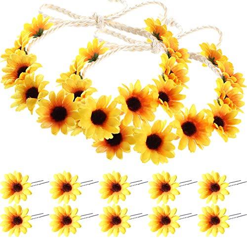 Sunflower Headband Wreath Sunflower Crown and Sunflower Hair Clips Sunflower Hairpins for Women Hair Accessories (12 Pieces)