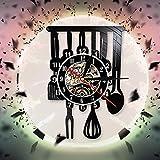 FDGFDG Chef Hat Reloj de Pared Decorativo Reloj de Cocina Creativo Reloj de Pared con Registro de Vinilo Colgante Negro Decoración de Arte de Pared Vintage para Cocina
