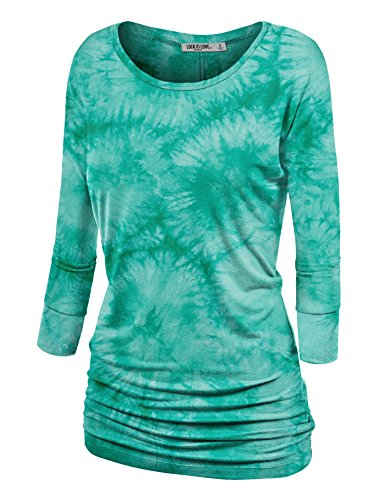 Lock and Love WT1059 Womens Round Neck 3/4 Sleeve Tie Dye Drape Top with Side Shirring XL Jade