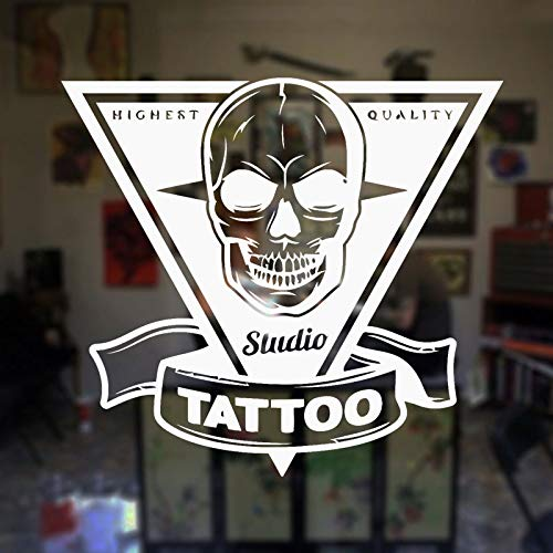 HNXDP Tattoo Salon Wandtattoo Tattoo Shop Zeichen Poster Studio Design Tür Fenster Vinyl Aufkleber Wandbild Geschenk Dekor Wandkunst F874 42x47cm