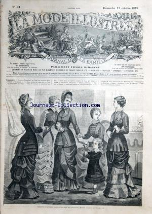 MODE ILLUSTREE (LA) [No 41] du 12/10/1879 - TOILETTES DAUTOMNR - CARRE EN TAPISSERIE POUR COUSSIN OU ESCABEAU - PRIE-DIEU DE CHEZ MME LE CYRE - NOEUD DE CRAVATE EN GRENADINE BRODEE - CHALE POSE EN CAPELINE DE MME RIBES - BONNET JARDINIERE - 6 TOILETT