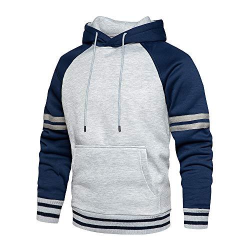LBL - Sudadera con capucha para hombre, color brillante, manga larga, bolsillo canguro, para invierno y otoño azul XL
