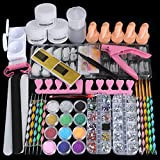 46 in 1 Acrylic Nail Kit Set with Everything - Cooserry 12 Glitter Acrylic Powder For Nail Starter Use - Nail Kit Set Professional Acrylic with Nail Art Tools For Beginners Manicure Display