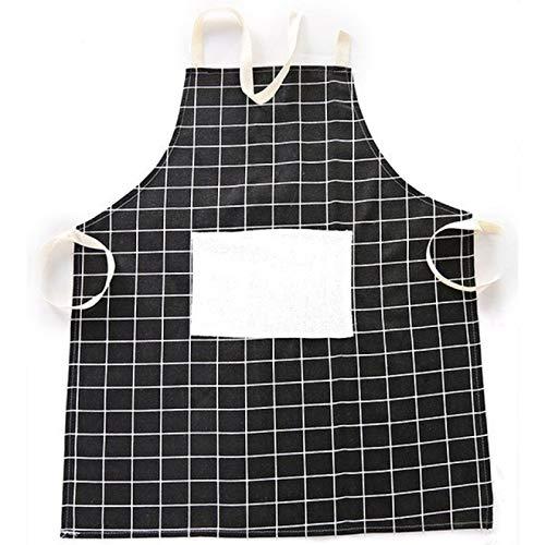 MLOPPTE Plaids Delantal de lino de algodón a rayas Mujer Hombre Adulto Baberos Cocina casera Hornear Cafetería Delantales de limpieza Cocina Jardín Accesorio Negro