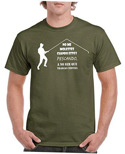 Camisetas divertidas Child molestes Cuando Estoy pescando a no ser Que traigas Cerveza - para Hombre Camisetas Talla XL Color Verde Oliva