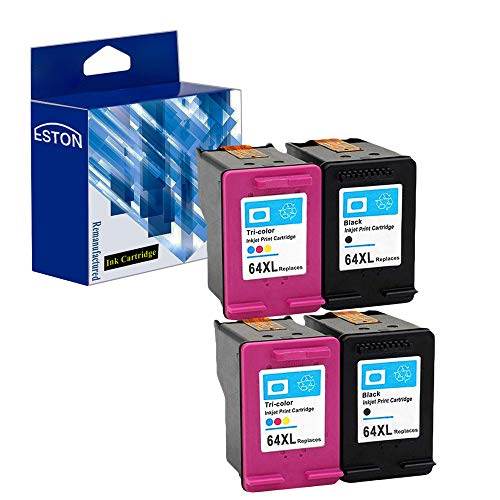 ESTON Re-Manufactured Ink Cartridge Replacement for HP 64XL N9J91AN N9J92AN High Yield for HP Envy Photo 6252, 6255, 7155, 7855 (2Black 2Tri-Color,4-Pack)