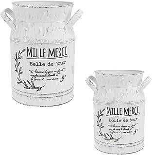 12 Inch Vintage Metal Galvanized Bucket Vase- Set of 2- Metal Milk Can Pitcher Vase Jug for Home Living Room Decoration