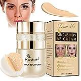 CC Cream, BB Cream, Base de Maquillaje, Corrector Base Duradera Hidratación Brillo Color Reparación Maquillaje Base, CC Crema Hidratante Impermeable Base Líquida(Butterfly Powder Puff)