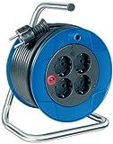 Brennenstuhl enrollacables Garant con alargador de 15 m y 4 tomas de corriente, plástico, uso en interiores, Fabricado en Alemania, azul