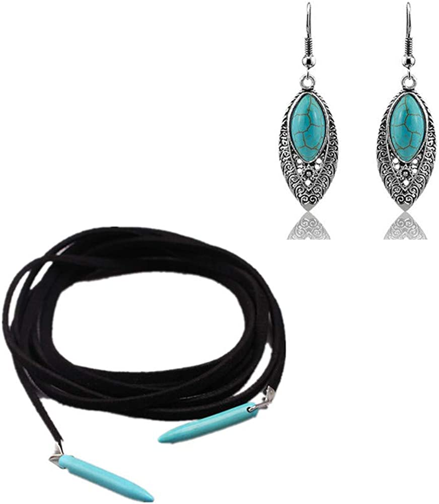 3 Pcs Bohemian Turquoise Pendant Long Choker Necklace Suede Tassel Long Necklace Vintage Turquoise Statement Dangle Earrings Jewelry Sets Handmade Boho Sweater Chain Necklace for Women and Girls