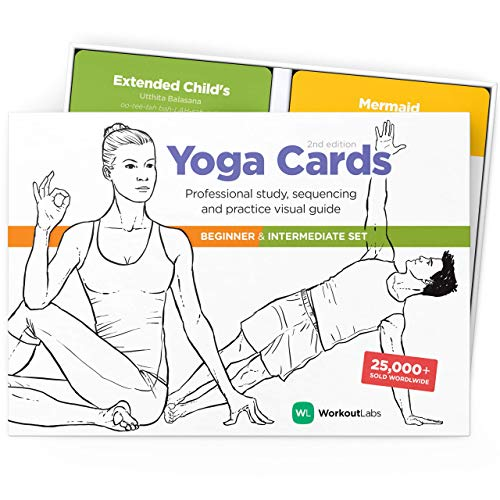 WorkoutLabs Carte di Yoga in plastica con linguaggio sanscrito per Lo Studio visivo, Il sequenziamento delle Classi, la Pratica con Posture, Esercizi di respirazione e Meditazione (Gioco Completo)