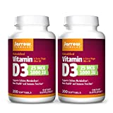 Jarrow Formulas Vitamin D3 1000 IU - 200 Softgels, Pack of 2 - Bone Health, Immune Function & Calcium Metabolism Support - 400 Total Servings