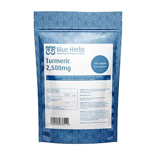 Blue Herbs Turmeric 2,500mg | 100 Tablets | High Strength