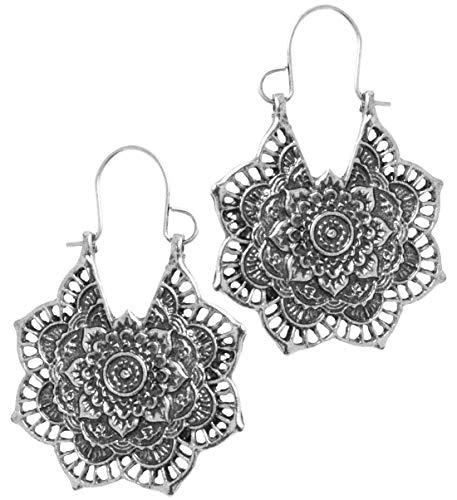 2LIVEfor Ohrringe Ethno Gross verziert Tropfen Hoops Ohrringe Bohemian Vintage Ohrringe lang Hängend Antik Style Silber und Gold Ornamente Blumen Blüte Creolen Rund Creole (Silber)