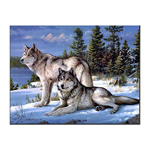 QERMULA Winter Wolf 5D Full Drill Diamond Painting Embroidery Cross Stitch Decoration Embroidered Cloth