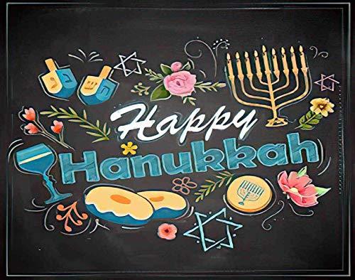 Merloady Hanukkah 5D DIY Diamond Painting Kits for Adults Kids Happy Hanukkah Festival Israel Jewish Judaica Diamond Painting Arts Paint by Number Kits Home Wall Decor 8x12 Inch