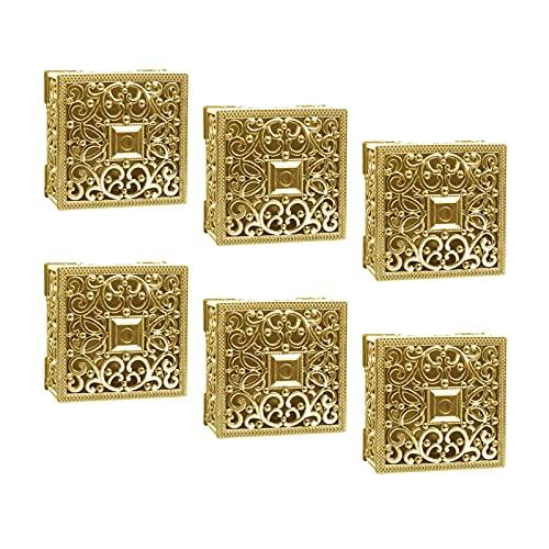 6 unidades/set de cajas de plástico para bodas, cajas de regalo de boda, chapado en oro, caja de dulces cuadrada hueca para boda, caja de regalo para bodas y fiestas de cumpleaños