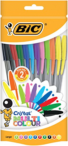 BIC Cristal Multicolour Penne a Sfera Punta Larga (1,6 mm) - Colori Assortiti, Sacchetto da 20
