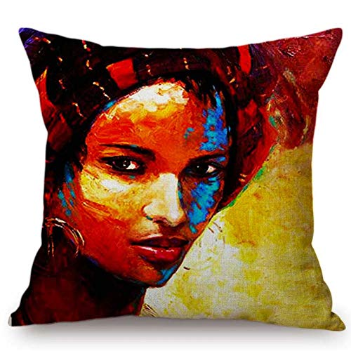 Eotifys Cushion cover Girl Lady Oil Painting Cushion Cover Home Black Art Decorative Sofa Coffee Car Chair Throw Pillow Case