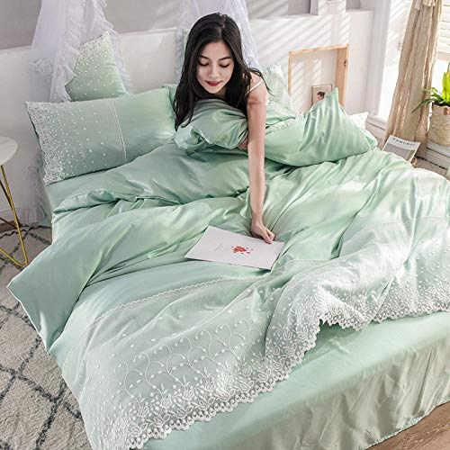 Homehold Sheets Set,Washed silk four-piece summer bedding princess style summer cool ice silk sheets quilt cover silky naked sleep-Light green_1.8m (6 feet) bed