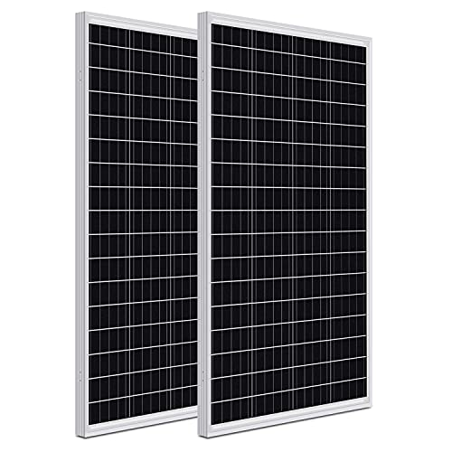 WEIZE 200 Watt 12 Volt Monocrystalline Solar Panel, 2 Pack of 12V 100W High-Efficiency Monocrystalline PV Module for Home, Camping, Boat, Caravan, RV, and Other Off-Grid Applications