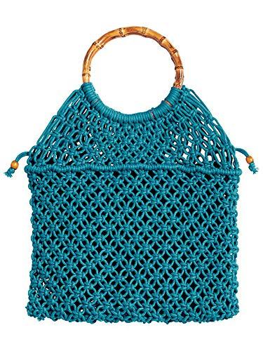 King Louie Macrame Bag - Bolso para mujer (31 x 28 cm), color Turquesa, talla Einheitsgröße