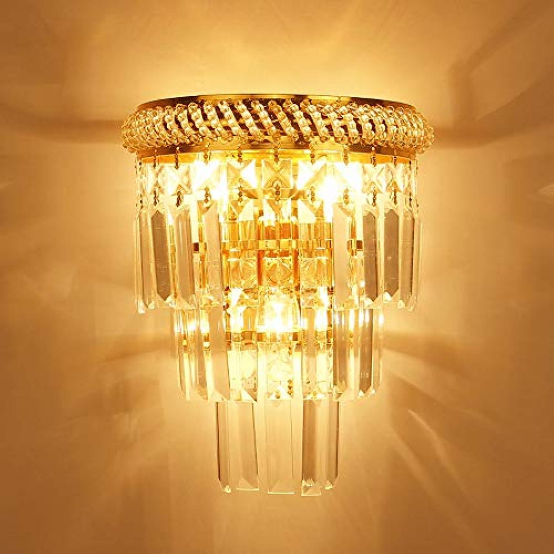 Belief Rebirth Kristall-Wandleuchte für Flur - Wandbehang-Leuchten mit KrisGrößenhnger und E14-Fassung, poliertes Gold-Finish Schlafzimmer-Nachttischlampe für Flurtreppe [Energieklasse A +++]
