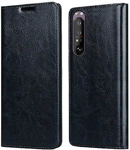 Mking Tech Custodia Flip Phone per Sony Xperia 1 III 5G. Conchiglia, Portafoglio, Porta Carte di Credito, Chiusura Magnetica, Xperia 10/20/XZ Premium/XZ1/XZ5 /XZS Guscio [Blu]