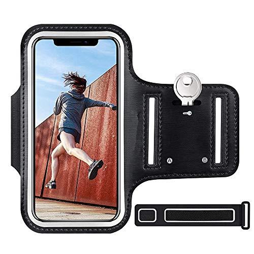 Fascia da braccio impermeabile con porta chiavi e slot per carte di credito, per corsa, ciclismo, palestra, adatta al tuo iPhone XS/XR/XS Max/X, Samsung, Huawei e altri smartphone fino a 6,2 pollici