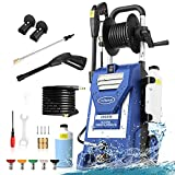3800PSI Electric Pressure Washer,3.0GPM Electric Power Washer 2000W High Pressure Washer with Hose Reel , 5 Adjustable Nozzles, Soap Bottle (Blue)