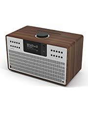 Revo SuperCD Internet-/DAB+ radio met cd (40 watt, stereogeluid, cd-speler, internet/DAB+/DAB/UKW, Spotify, WLAN, LAN, AUX In, Line-Out, incl. adapter) walnoot-zilver