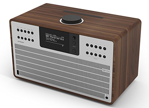 Revo SuperCD Internet-/DAB+ Radio mit CD (40 Watt, Stereo Sound, CD-Player, Internet/DAB+/DAB/UKW,Spotify,WLAN,LAN,Aux In,Line-Out,inkl. Netzteil) walnuss-Silber