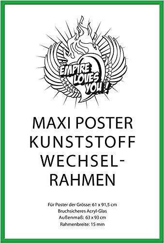 Empire Merchandising 674982 Rack Amovible de la Marque Empire pour Affiche Maxi la Taille en Plastique. 61 x 91,5 cm Dimensions extérieures 62 x 93 cm, 15 mm Profil avec Verre Acrylique, Vert