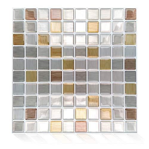 ZXF Pegatinas de baldosas, 10 Comprimidos Auto-Adhesivo de azulejo Mosaico Pared Sticker Decal Cocina Baño Backsplash Home Decor Vinilo