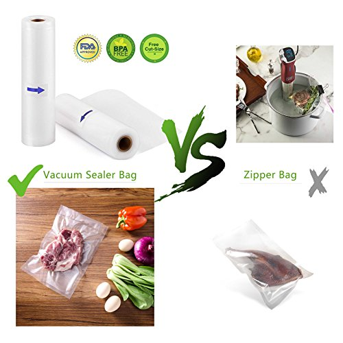 Welhunter Vacuum Sealer Bags 2 Rolls wiht Length 200 inch,Height 8 inch per rolls,Commercial Grade Bag for all Vacuum Sealers