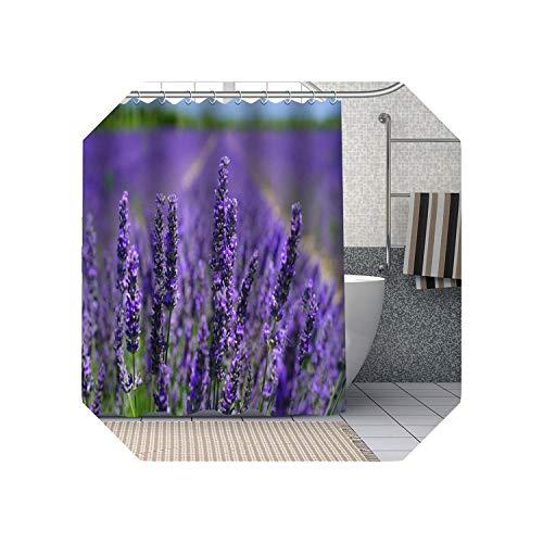 Cool-House Schwarzer Kunstduschvorhang  Lila Lavendel Blumen Duschvorhänge DIY Bad Vorhang Stoff Waschbares Polyester Für Badewanne Art Decor-13-180x180cm
