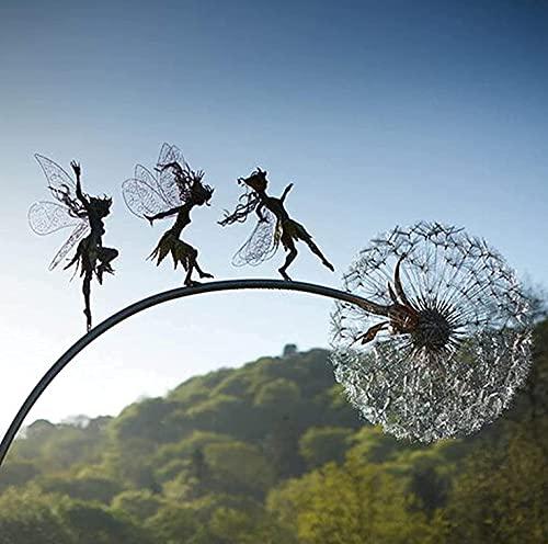 LöWenzahn-Fee-Skulptur, Garten-Silhouettenpfähle Gartenskulpturen Dekorativer Metallpfahl Fee, Feen Und LöWenzahn Tanzen Zusammen (D)